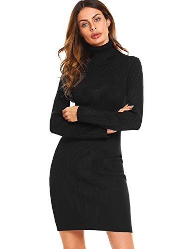 Keland Damen Strickkleid mit Rollkragen gestreift und uni Feinstrick-Minikleid Fashion-Highlight (Nylon Rollkragen)