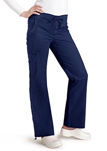 Groß Flare Scrubs Hose (Adar pop-stretch Junior Fit Low Rise Boot Cut Bungee Bein Hose Gr. XX-Small, navy)