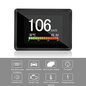 LayOPO OBD/OBD2 medidor digital inteligente, pantalla de subida de cabezales OBD/OBD2, indicador de temperatura OBD…