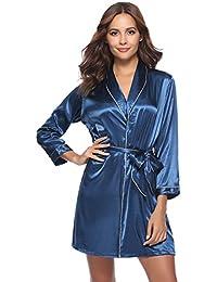cff7bc516e27a6 Aibrou Damen Morgenmantel Kimono Satin Kurz Robe Bademantel Nachtwäsche  Sleepwear V Ausschnitt mit…