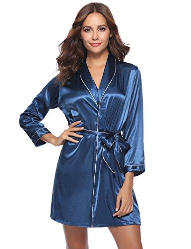 Aibrou Damen Morgenmantel Kimono Satin Kurz Robe Bademantel Nachtwäsche Sleepwear V Ausschnitt mit Gürtel Blau L (Kurzen Satin-kimono-robe)