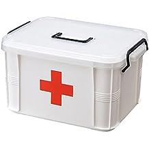 Caja de almacenamiento de doble capa de primeros auxilios, BAFFECT® Dispositivo de almacenaje médico de la droga portable de la píldora del hogar para el hogar, el recorrido, el acampar, la oficina y el lugar de trabajo(S)