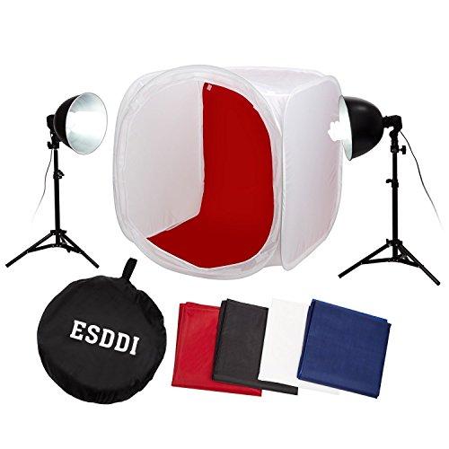 ESDDI Fotozelt 80x80x80cm Lichtzelt tragbare Lichtwürfe Ministudio Aufnahme Zelt für Fotostudio Photo mit 2x 85w Lampen + 4x Hintergundstoff (rot/schwarz/weiß/dunkelblau)