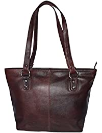 AVES Fashion Medium Size Solid Leather Hand Bag For Women - Two Tone
