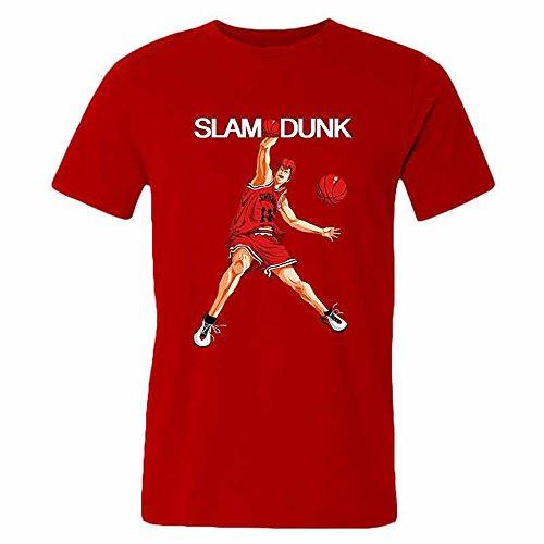 SLAM DUNK -Handsome basketball master Sakuragi Hanamichi red T-shirt for men-M par  Good Day