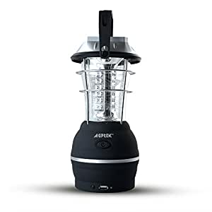 Solar Camping Lantern – AGPtek rechargeable Camping Light with 5 Mode of recharging - Hand Dynamo+Solar+USB+Car, AC Adapter - 36LED super bright, Power Bank Emergency Lamp for Outdoor Fishing