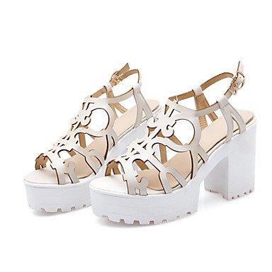 LvYuan Da donna-Sandali-Formale Casual-Innovativo Alla schiava Club Shoes-Quadrato-Finta pelle-Blu Rosa Bianco Beige White