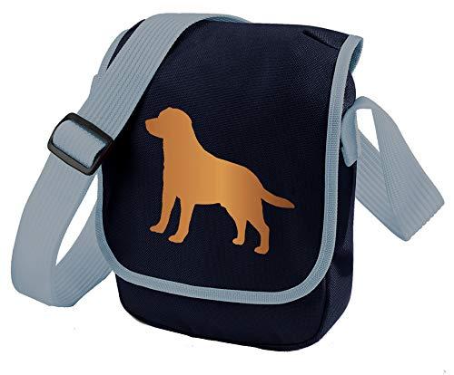 Labrador Hundetasche Reportertasche Umhängetasche Labrador Retriever Silhouette Labrador Geschenk Farbwahl, Blau - Red Lab Blue Bag - Größe: Small/Medium -