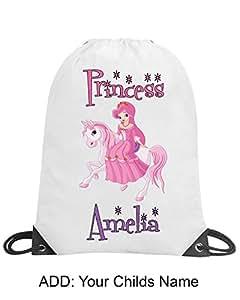 Princess Girls Pink Personalised Drawstring Bag PE Swimming School Nursery