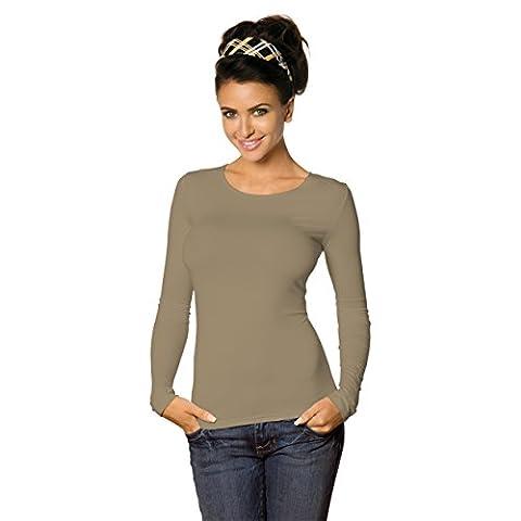 Damen Longsleeve Basic Shirt Stretch-Viskose Langarmshirt Rundhals Top Bunte Farben / Gr. 32 bis 50, Farbe: Cappuccino, Größe: 40-42
