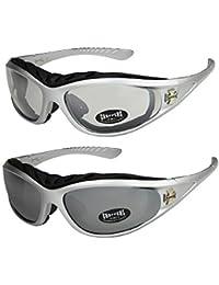 2er Pack Choppers 911 X05 Sonnenbrillen Motorradbrille Sportbrille Radbrille mit Polsterung in den Farben schwarz, anthrazit, silber und weiß
