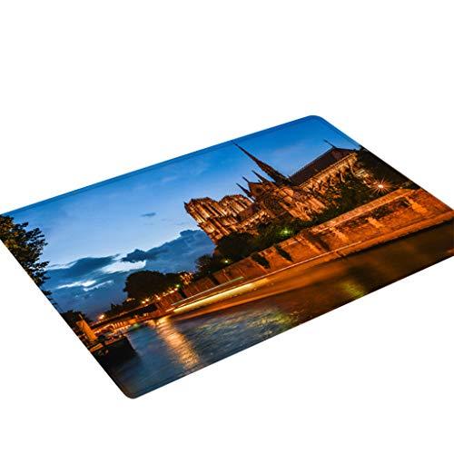 Nncande Notre Dame De Paris Flanell Hause Büro Restaurant Zimmer Wohnzimmer Tür Anti-Rutsch-Matte Teppich Quadratischer Muster-Antirutschmatte 50X80CM