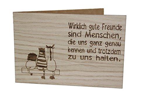 Holzgrußkarte - FREUNDE - 100% handmade in Österreich - Postkarte, Geschenkkarte, Grußkarte, Klappkarte, Karte, Einladung, Holzart:Eiche