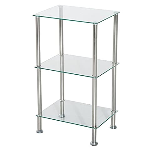 HOMCOM 3 Tier Shelf Unit Wall Storage Ladder Bookcase Display Rack Free Standing Bookcase Stainless Steel Frame Tempered Glass Tire (40cm,
