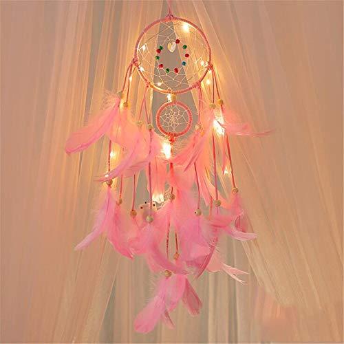 Wankd Atrapasueños,Moda Hecho a Mano LED Dream Catcher Light Up Plumas Dreamcatcher Red Circular con Plumas para el hogar de la Pared del Coche Colgante decoración Adorno Artesanal Regalo (Rosado)
