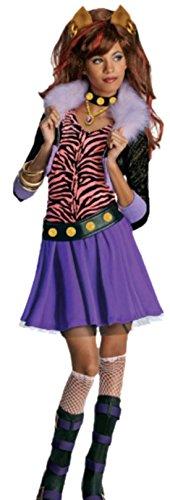 Mädchen Rentier Tanz Kostüm (Halloweenia - Mädchen Kostüm Monster High Clawdeen Wolf mit Top, Rock, Gürtel und Halsband, 122/128,)