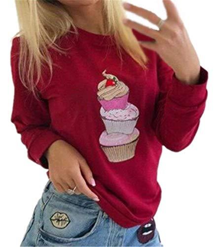 Battercake Sweatshirt Damen Pullover Cozy Langarm Löcher Cher Crewneck Langarmshirt Moderne Bedrucken Sweater Jugendliche Casual Frauen Oberteile College Warm Tops Lässige (Color : Rot, Size : XL) (Crewneck Sweatshirt College-frauen)