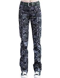 Ghope Femmes Pantalon Armée Militaire Dames Cargaison Haleter Léger en Coton Slim Straight Fit