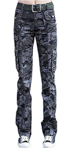 Ghope Damen Cargo-Hose im Militär-Stil Camouflage Dunkelgrau Baumwolle-Mix Lange Stretch Hosen XL (Damen Cargo-stil Jeans)