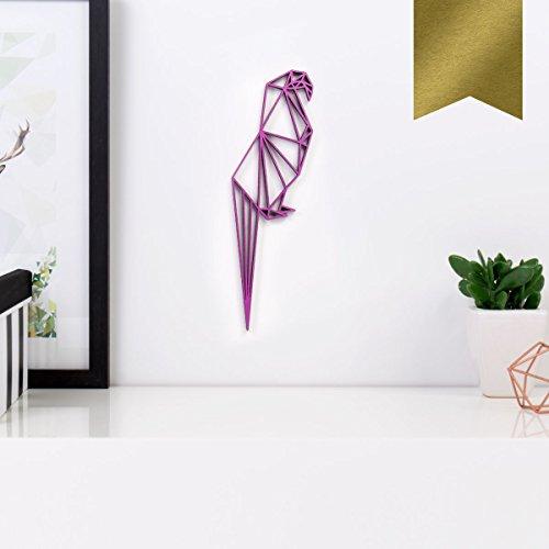 KLEINLAUT 3D-Origamis aus Holz - Wähle Ein Motiv & Farbe - Papagei - 3 x 10 cm (S) - Gold
