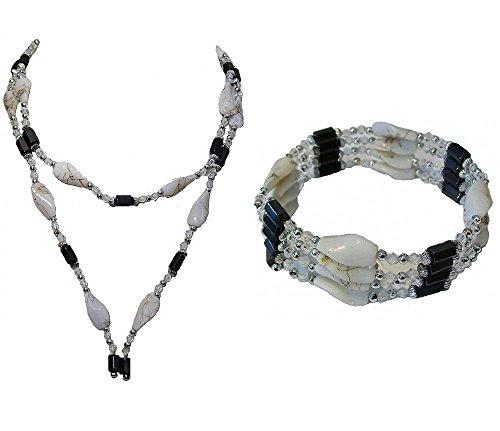 Weiß Schwarz Silber Perlen Magnet Magnetischer Hämatit Fancy Ball String Wrap Armband Collier für Frauen Mädchen ()