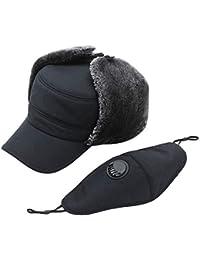 Alley.L Invierno Trapper Ski Hat Máscara de Montar A Prueba de Viento Orejeras engrosadas Calientes Sombrero con válvula de respiración para Ciclismo Camping Senderismo Esquí/A