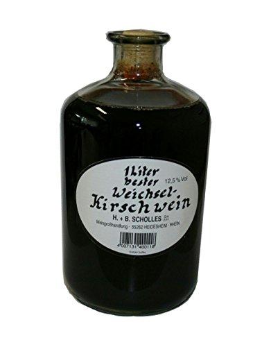 Scholles - Frucht Dessertwein / Kirschwein in dekorativer Apothekerflasche - Geschmack: Weichselkirsch - Deutsche Spitzenqualität - 1 Flasche á 1L