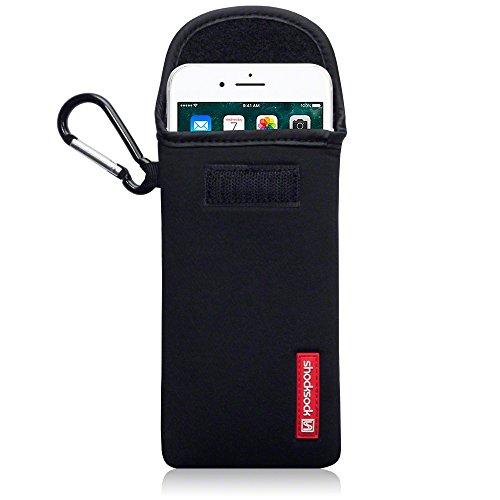 Shocksock, Kompatibel mit iPhone 8 Plus / iPhone 7 Plus Neopren Tasche mit Carabiner Hülle - Schwarz EINWEG