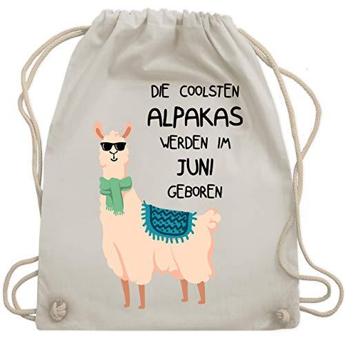 Geburtstag - Die coolsten Alpakas werden im Juni geboren Sonnenbrille - Unisize - Naturweiß - WM110 - Turnbeutel & Gym Bag