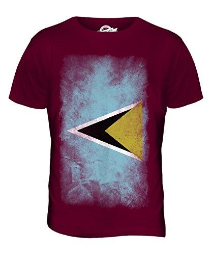 CandyMix St. Lucia Verblichen Flagge Herren T Shirt Burgunderrot