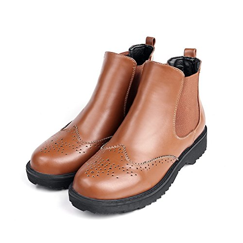 Voguezone009 Mujeres Punta Redonda Grueso Talón Tobillo Pure Brown Boots