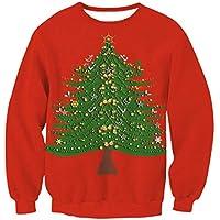 Novedad navidad Mujeres sudadera navideña Árbol de navidad Impreso Pullover Cuello redondo Outwear Tops Otoño Invierno Manga larga O-cuello Sport Jumpers Blusa -S ( Color : Red4 , tamaño : L )