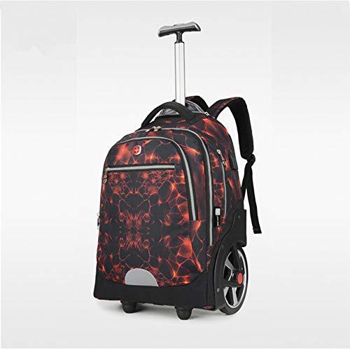 Men Wheeled Backpack USB Charging, Schultaschen auf Rädern, Trolley Laptop Rucksack, Rollrucksack für Jungen, Handgepäckkoffer,Red (Frauen Laptop-tasche Für Wheeled)