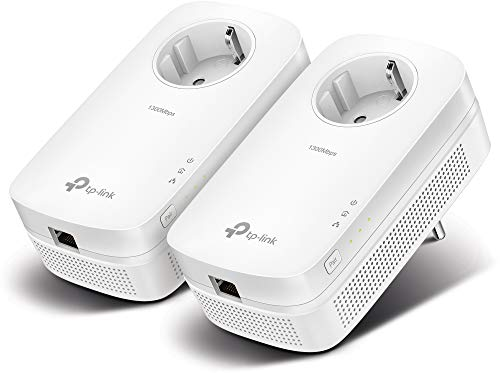 TP-Link TL-PA8010P KIT 1300Mbit/s 2x Gigabit Ports Passthrough Steckdose Powerline Adapter Set( 2*2-MIMO, Plug & Play, energiesparend, kompatibel zu allen gängigen Powerline Adaptern) weiß