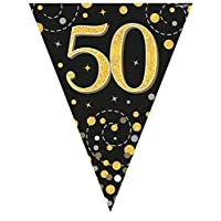 Oaktree UK Sparkling Fizz Black & Gold 50th Birthday Flag Bunting