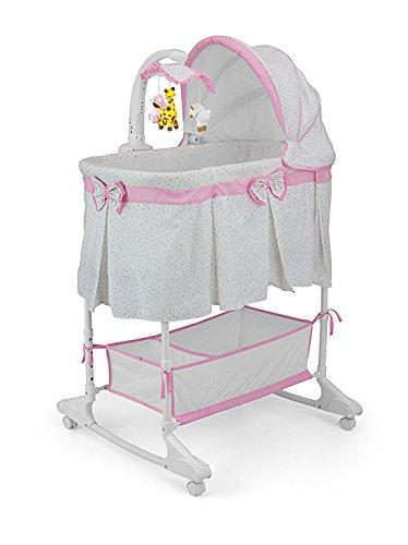 Woodega - Mädchen Babywiege mit Matratze Mobile Musik Moskitonetz Vibration Fernbedienung, Pünktchen Print, 87x73x27cm, Pink (Mädchen Gesteppte Bettwäsche)