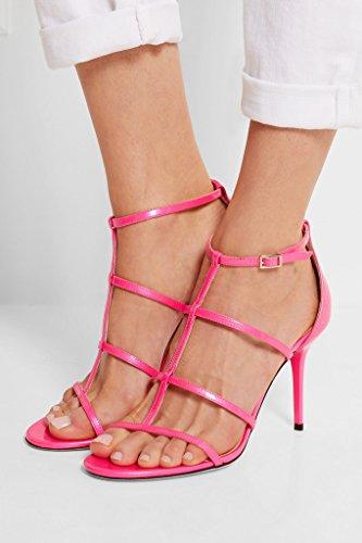 EDEFS Femmes Artisan Fashion Sandales Bout Ouverts Sexy Décolleté Particuler Tout Lanières Chaussures à talon aiguille de 100mm Nude Rosé