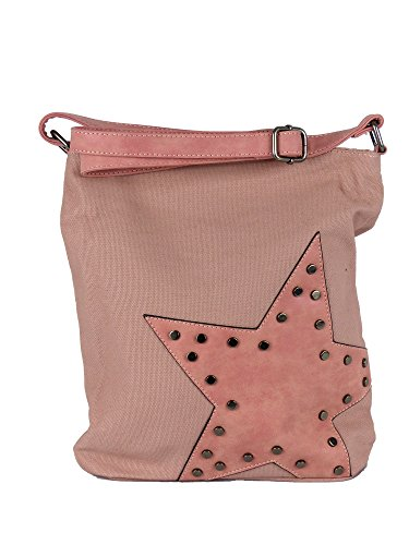 Canvas Tasche aufgenähter Stern mit Nieten - Damen Mädchen Teenager Umhängetasche - Maße ohne Schulterriemen 27 x 30 cm (rosa)