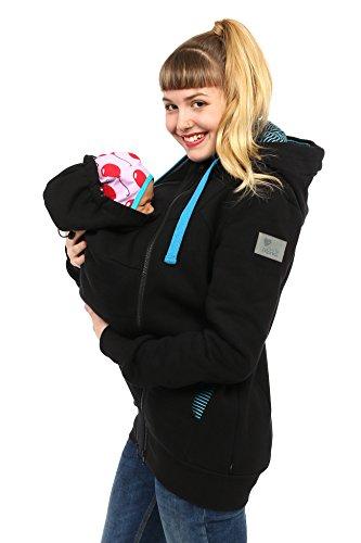 Viva la Mama Jacke Schwangerschaft Jacke für Baby und Mutter Tragepulli Tragetuch Jacke mit Einsatz - Elliot schwarz Streifen - L