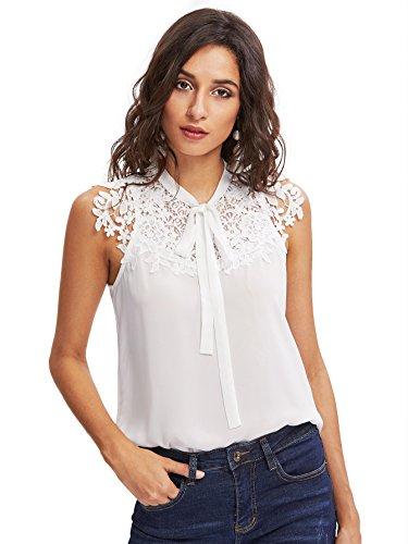 DIDK Damen Sommerbluse mit Blumen-Spitze Schleife Elegant Ärmellos Oberteil Bluse Weiß S