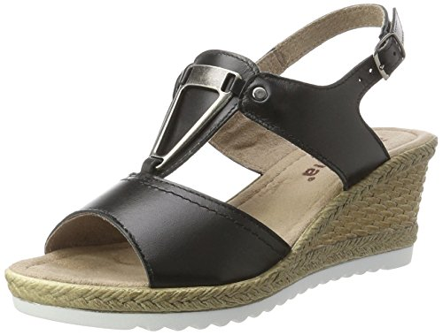Jana Damen 28303 Offene Sandalen mit Keilabsatz Schwarz (BLACK UNI 007)