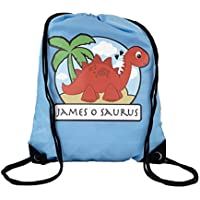 d6a8282f12d0 The Supreme Gift Company Personalised Kids RED Stegosaurus Dinosaur on a  YELLOW Drawstring Swimming
