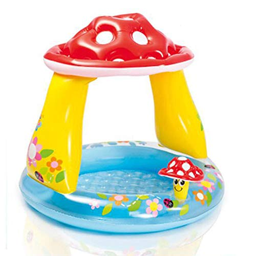 CBWZDJZDS Aufblasbarer Swimmingpool-Pilz-Rundes Überdachtes Baby-Pool-Gelb 102X89Cm