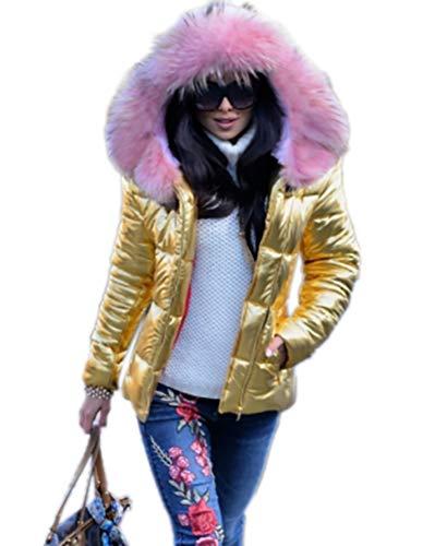 Aox Frauen Daunenjacke Mit Kapuze Warme Kunstpelz Verdicken Leichte Puffer Mantel Mode Outdoor Ski Parka Anorak (48, Pink Golden)