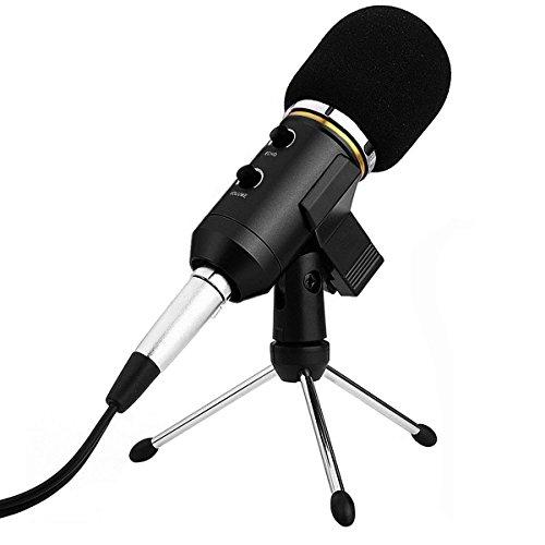 Micrófono Condensador USB para Grabar Micrófonos PC con Soporte Trípode Podcast Studio MIC Equipo de Sonido Profesional para PC,Ordenador,MAC,Grabar,Cantar,Negro(Cable audio 3.5mm,MIC Clip)