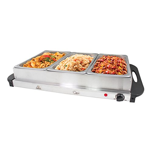 41dwPeOOp2L. SS500  - Quest 16510 Large Triple Buffet Server and Warming, Stainless Steel, 2.4 litres per Tray, Silver, 200W, 65x36x16.5cm, 300 W