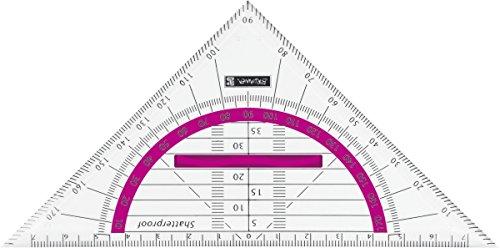 Brunnen 104975926 Geometrie-Dreieck Colour Code (für Schule und Büro, 16 cm, bruchsicher, ergonomischer Griff) pink