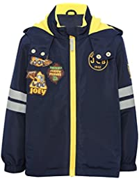 M&Co JCB Navy Long Sleeve Joey Character Badge Applique Zip Through Reflective Stripe Hooded Jacket