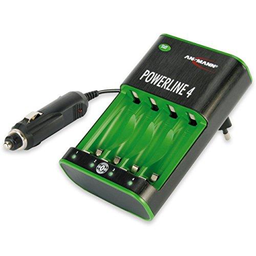 ANSMANN Powerline 4 Stecker-Ladegerät für 1-4 NiMH Akkus / Akkuladegerät für Micro AAA & Mignon AA / Mit Akku-Voll-Erkennung  Einzel-Schacht-Überwachung & automat. Netztrennung nach Vollladung