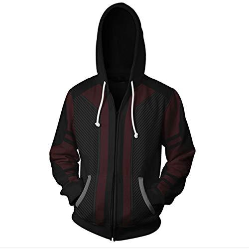 RJHWY 3D Hoodie Sweatshirt Unisex Pullover Kapuzenjacke Kleidung Mantel Reißverschluss Hawkeye XXXL
